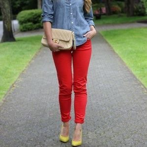 RUE 21 JEANS PANTS RED SKINNY SIZE 9/10